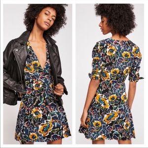 New Free People Glow Up Mini Deep V Floral Dress
